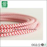 Cable redondo de la materia textil con los certificados del VDE RoHS del Ce
