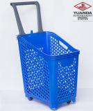Chariot en plastique de chariot à panier à provisions de poussée de main de supermarché avec 4 roues