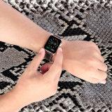 Design exclusivo de costura dupla cinta de vigilância em pele genuína para a vigilância da Apple