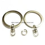 Trousseau de clés nickelé ou par couleur émaux en acier de boucle de clé fractionnée en métal (Hsy0012)