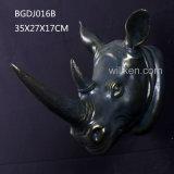 Inicio de la cabeza de rinoceronte Polyresin plata/oficina/Toggery Decoración de pared