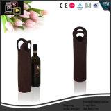 Zak van de Wijn van het Leer van het Ontwerp van de douane de Met de hand gemaakte Praktische Zwarte in China (5604)