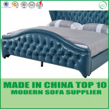 Modernes Schlafzimmer-Möbel-echtes Leder-Bett