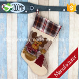 Bolso del caramelo de Papá Noel de la media del ornamento del árbol de los regalos de la Navidad del calcetín de los alces