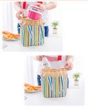 2017 de Zakken van de Lunch van het Patroon van de streep voor Vrouwen isoleerden de Koude Picknick van Drawstring van het Canvas dragen Zak van de Lunch van het Geval de Thermische Draagbare