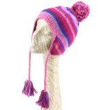 レディース冬の暖かい帽子POMの球の帽子ケーブルのニットのEarflapの帽子の帽子