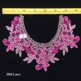 Applique одежды золота 37*26cm флористическим Crocheted вышитый ожерельем, розовый ворот Hme936 шнурка хомута