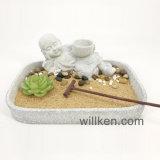 ホールダーのZENの庭が付いている砂の皿の装飾の仏