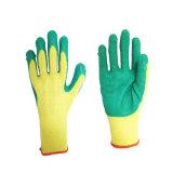 La mano de látex de protección de seguridad Guante recubierto de hilo de algodón Forro Guante tejido con agarre firme Palm