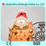 Supporto del bastone della candela di disegno dell'uomo della neve dei mestieri di natale della resina per la decorazione esterna