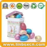 Rectángulo cuadrado modificado para requisitos particulares del estaño del regalo del metal para pila de discos los huevos de Pascua