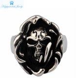Ring van de Schedel van het Roestvrij staal van het Afgietsel van de Juwelen van de Groothandelsprijs de Zwarte 316L