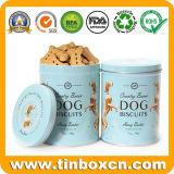 Rectángulo redondo del estaño de las galletas del alimento de animal doméstico del metal para la galleta de perro