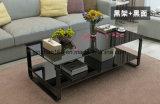 까만 부드럽게 하는 유리제 꽃 커피용 탁자 룸 테이블