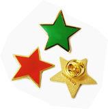 Les meilleures chevilles de revers de placage à l'or d'insigne de décoration de forme d'étoile de qualité