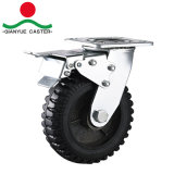 Hochleistungs mit seitlicher Bremsen-Roheisen-Gummi-Fußrolle