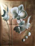 Pitture a olio dorate del fiore dell'orchidea della stagnola della decorazione domestica su tela di canapa