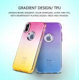 Couverture hybride duelle protectrice à 3 couches de cas de dos de mobile de scintillement de Bling de mode pour l'iPhone 8
