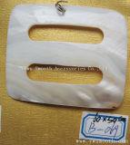 Bricolaje Accesorios de moda mayorista Joyas de concha Collar Botón Blanco colgante