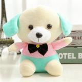 Perrito divertido colorido con el juguete de encargo relleno Bowtie del perro de la felpa
