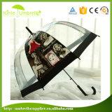 Guarda-chuva transparente reto impresso do PVC do tipo logotipo feito sob encomenda