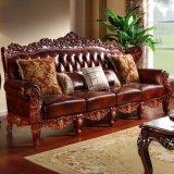 Mobilia del salone con lo strato di cuoio reale del sofà (506B)