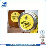 Etiqueta autoadhesiva adhesiva imprimible de encargo de la botella de la miel del alimento