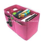 Bolso del cosmético del color de rosa caliente del bolso del fieltro de las lanas del bolso del organizador del fieltro