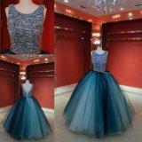 De forma personalizada Blue Ball Beca Vestido de festa vestido à noite
