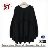 Maglietta lunga nera Collarless semplice delle donne del manicotto di Customed