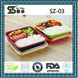 Contenitore di alimento a gettare della plastica 3compartment con il coperchio chiuso ermeticamente