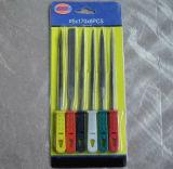 Диаметр 5 мм x 180 x 6ПК набор файлов иглы в чехол с красочными квадратных пластмассовые ручки
