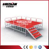 Etapa de aluminio de la buena cantidad con la plataforma portable y plegable del carril