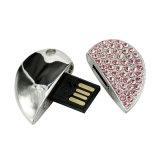 A pena de cristal do USB do coração do metal bonito conduz o Reino Unido