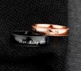 De Toebehoren van de manier Haar Koning Zijn Overeenkomsten van de Vrijdag van de Trouwringen van Zircon van Koningin Couple Rings Wholesale Titanium Staal Zwarte