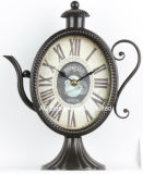 Старинные декоративные предметы антиквариата зеленый Teapot металлические формы стола часы
