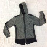 スクエア6449子供の服装の羊毛の対照の革男の子のトラックスーツの衣服