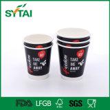 Tazza di caffè di carta nera doppia delle tazze di tè di immaginazione del migliore venditore