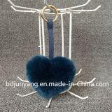 新型ののどの毛皮吊り下げ式のハート形袋の魅力毛皮で覆われたKeychain