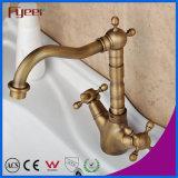 Fyeer de bronze Dual torneira de misturador retro Wasserhahn da água do Faucet de bacia de lavagem de Syle do punho