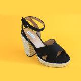 Замшевая отделка гладка женщин дешевые высокого каблукабосоножки Espadrilles черного цвета