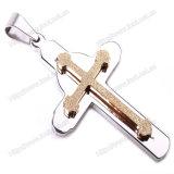 Het Kruis van de Juwelen van de Mensen van het roestvrij staal voor de Tegenhanger van de Charme van Mon & van de Zoon (iO-St00H)