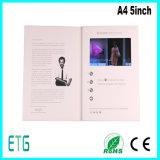 A4 cartolina d'auguri dell'affissione a cristalli liquidi di pollice TFT dell'opuscolo 5 video