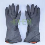 Rubber Handschoen--De zwarte Handschoenen van het Werk van het Latex van de Kleur Chemische Bestand Industriële Rubber