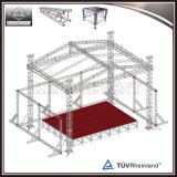 Plataforma de madeira palco de concertos ao ar livre de alumínio com design de teto de serrilha