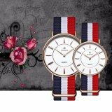 Japan Movt. Horloge van de Dames van de Mensen van de Band van het roestvrij staal het Klassieke Nylon, Slanke Horloges 72421 van de Stijl van Dw van de Riem van de NAVO Nylon