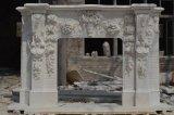 Естественный каменный белый мраморный камин для крытого украшения