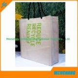 Bolsa de algodão de compras reciclável manuseada