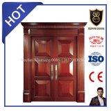 Portes supérieures de villa de portes d'entrée de double en bois solide de modèle
