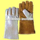 Золотой коровы Split кожаные перчатки сварочные работы из алюминиевой фольги-6700